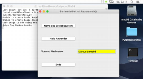 Demoprogramm: für blinde und sehbehinderte Menschen nutzbar, Betriebssystem MacOS, Programmiersprache Python