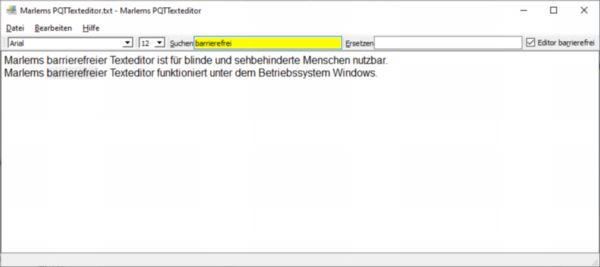 Marlems barrierefreier PQT-Texteditor im Betriebssystem Windows